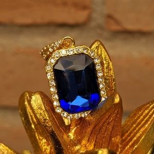 🆕18K Gold Plated Royal Blue Gem Stone Pendant
